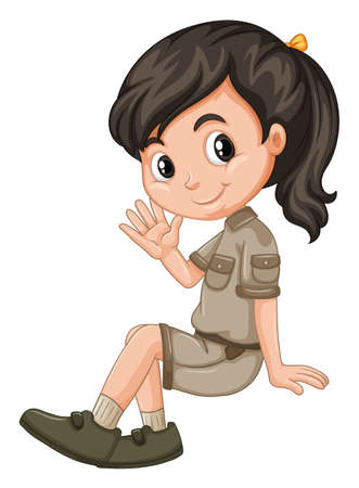 Little girl sitting and waving illustration