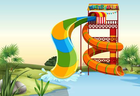 water slide: Water slide by the river illustration