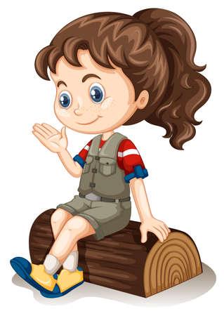 little girl sitting: Little girl sitting on log illustration