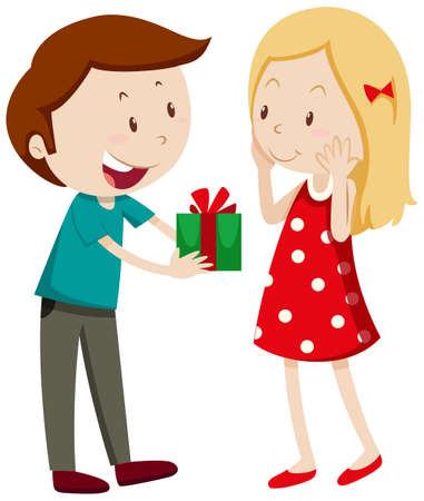 giving: Man giving gift to girlfriend illustration
