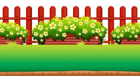 Flores y la cerca en el jardín de la ilustración