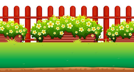 Flowers and fence in the garden illustration