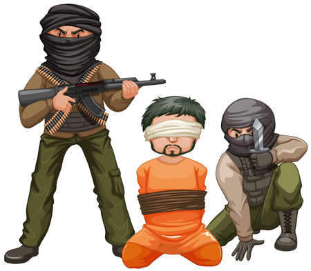Two terrorists with guns and a victim illustration Illustration