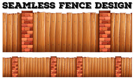 plywood: Seamless fence design with brick poles illustration