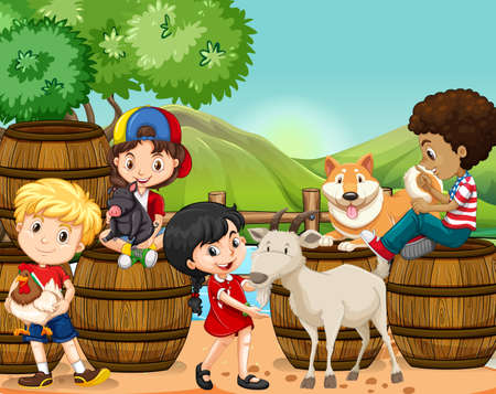 farm boys: Children and farm animals  illustration