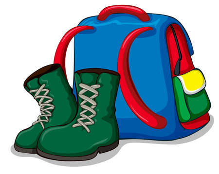 hiking: Backpack and camping boots illustration Illustration