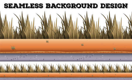 dry grass: Seamless background with dry grass illustration