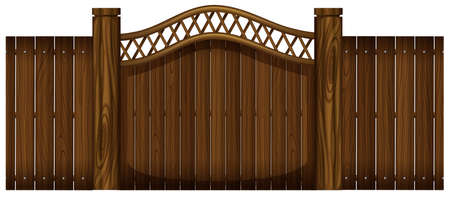 Houten hek en deuropening illustratie