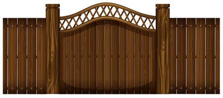 doorway: Wooden fence and doorway illustration Illustration