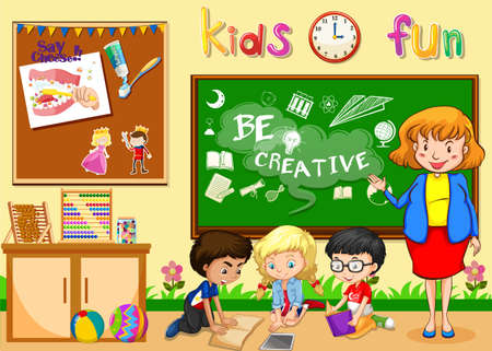 children room: Children studying in classroom illustration