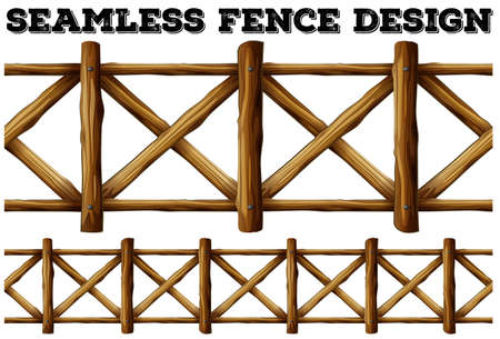 Fence design with wooden fence illustration