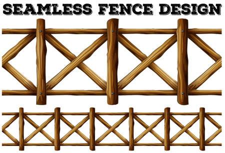 Konstrukcja ogrodzenia z drewnianym ogrodzeniem ilustracji