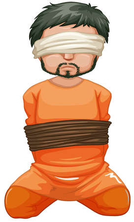 hostage: Hostage being captured and blindfolded illustration