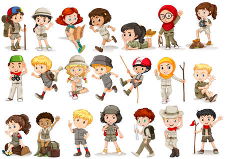 small group of objects: Girls and boys in camping costume illustration