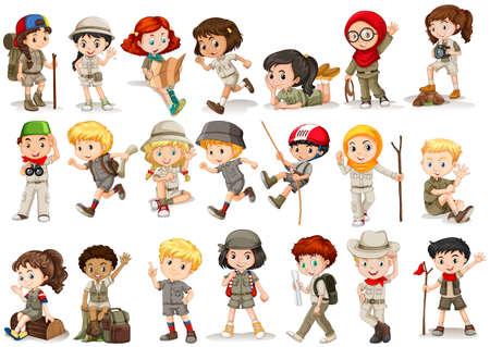 niño escalando: Las niñas y los niños en la ilustración del traje de camping