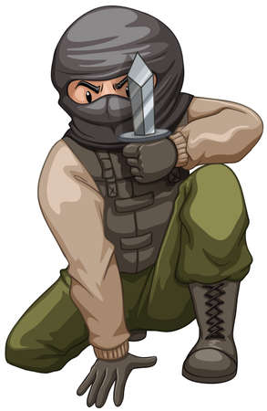 pocket knife: Terrorist carrying a pocket knife illustration