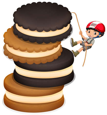 cookies and cream: Little boy climbing up stack of cookies illustration