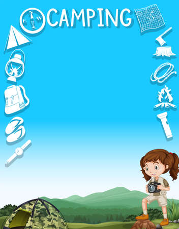 design tools: Border design with girl and camping tools illustration