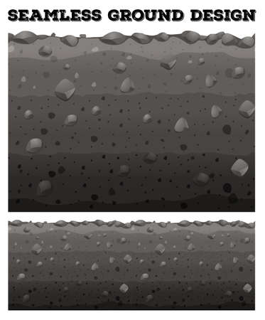 rock layer: Seamless ground with different layers illustration Illustration