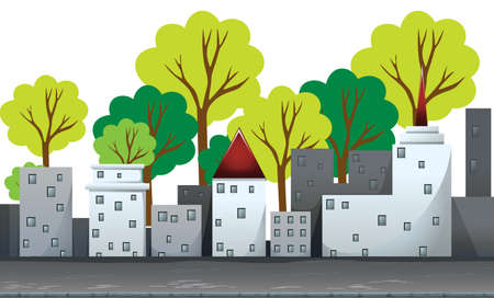 city road: Buildings and trees on the road illustration Illustration