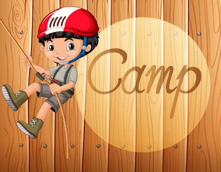 climbing: Boy with helmet climbing up the rope illustration