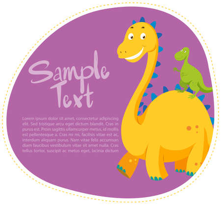 cute dinosaur: Border design with two dinosaurs illustration Illustration