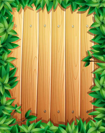 plywood: Border design with green leaves on wooden wall illustration