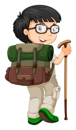 walking stick: Boy with backpack and walking stick illustration Illustration
