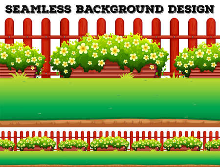 garden lawn: Garden background with flowers and lawn illustration