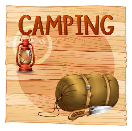 sleeping bag: Camping gears with lantern and sleeping bag illustration