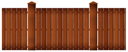 plywood: Wooden fence with posts illustration