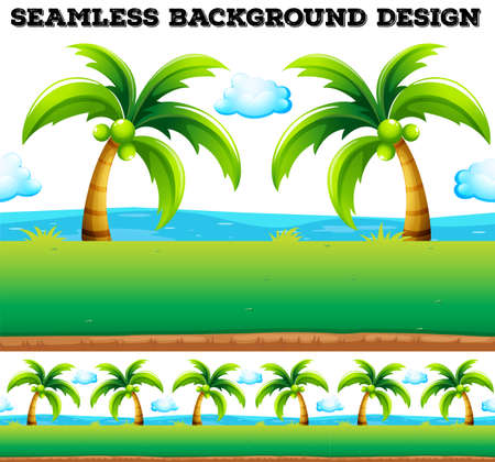 coconut trees: Seamless background with coconut trees illustration
