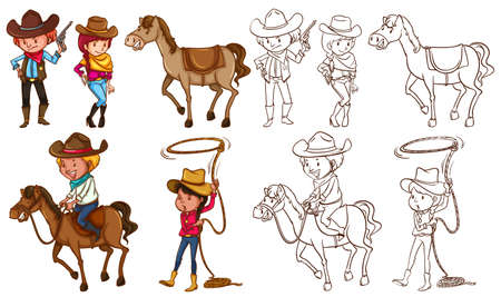colection: Cowboys and horses in colors and line illustration Illustration