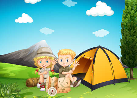 Boy and girl camping in the park illustration Çizim