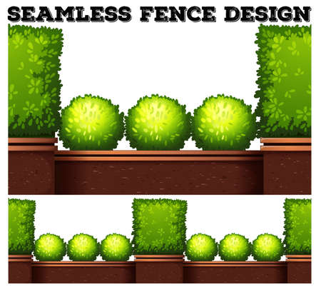 Potted plants: Seamless fence design with green bush illustration Illustration