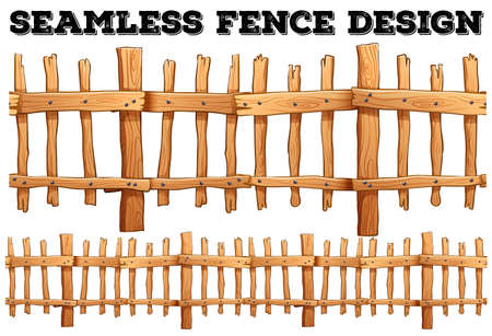 fences: Seamless classic wooden fence design illustration