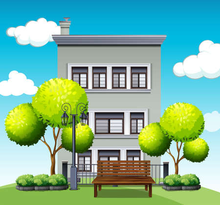 Apartment building behind the park illustration
