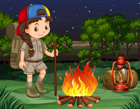 Little girl standing by the campfire illustration