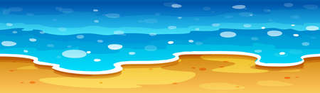 ocean view: Ocean view with beach illustration