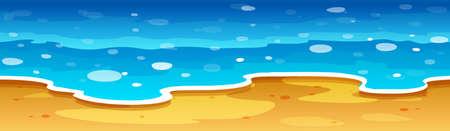 Vue sur la mer avec plage illustration