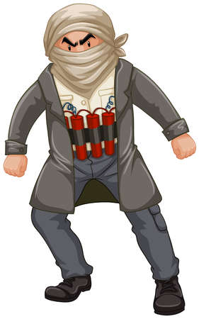 Terrorist man wrapped himself with bomb illustration Illustration