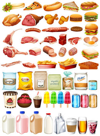 Different type of food and dessert illustration Stock Illustratie