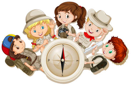 kids background: Girls and boys with camping gears illustration Illustration