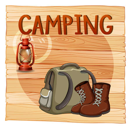 hiking: Camping sign with lantern and backpack illustration