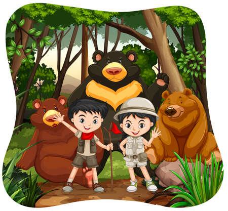 animales de la selva: Los niños y los osos pardos en la ilustración de maderas Vectores