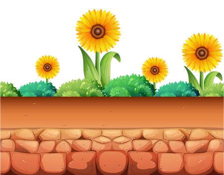 ground: Sunflowers and bush on the ground illustration