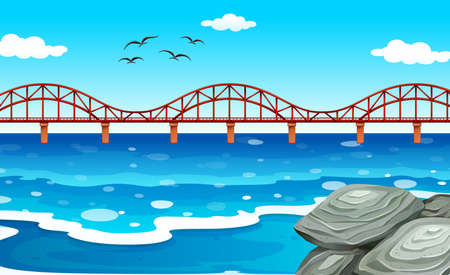 ocean view: Ocean view with the bridge illustration