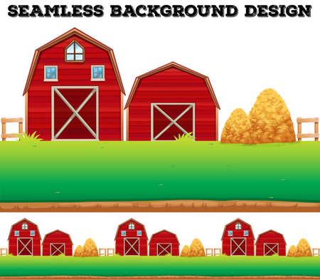 Barns and haystack on farm illustration