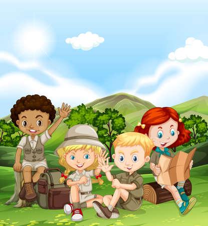 niños sentados: Los niños acampando en la ilustración durante el día
