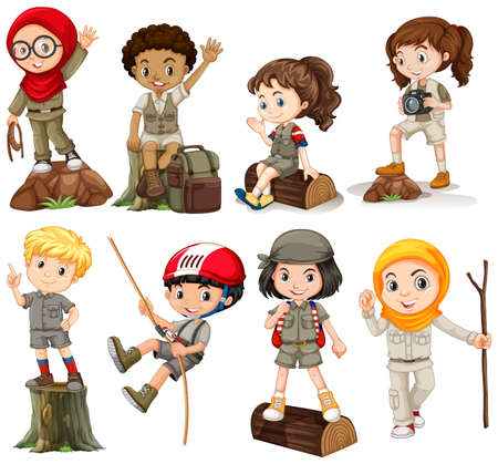 Boys and girls in camping outfit illustration Иллюстрация